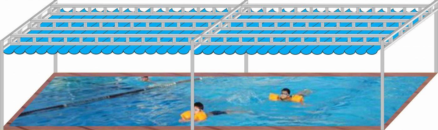 mẫu thiết kế mái xếp hồ bơi